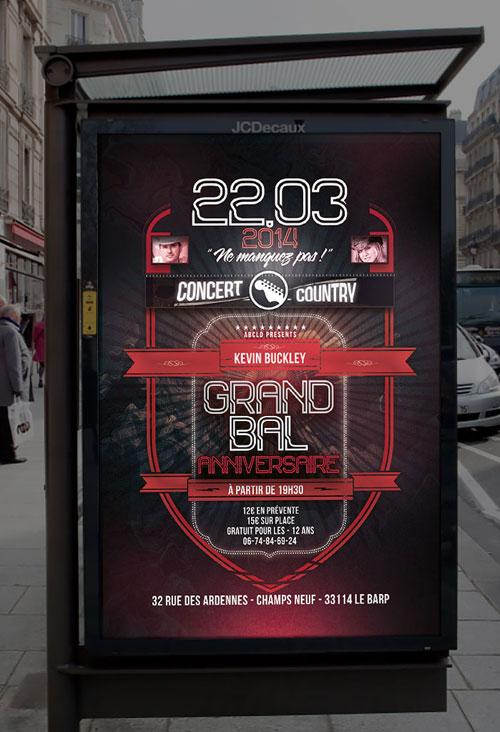 Infographiste indépendant, création d'affiche de musique pour un bal