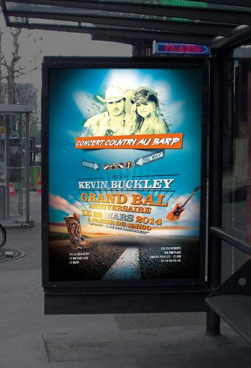 Infographiste indépendant, création d'affiche de musique de concert country