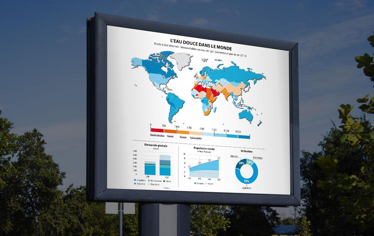 Infographiste indépendant, création et mise en page de cartographies et infographies, carte du monde