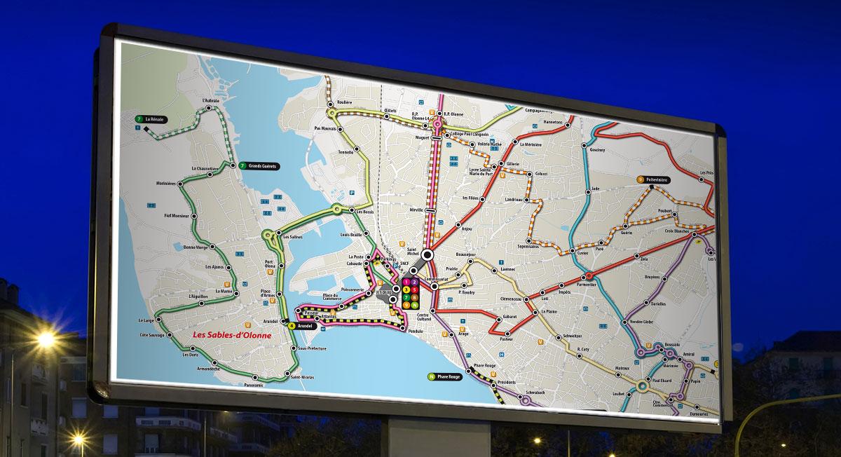 Infographiste indépendant, création et mise en page de cartographies et infographies, réseaux de bus