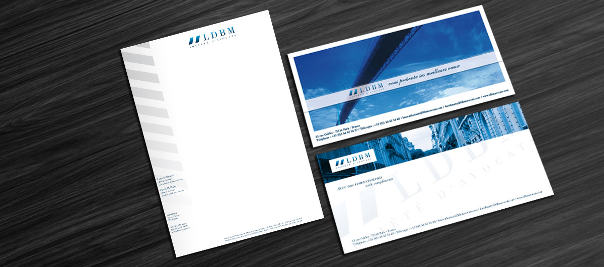 Infographiste Indépendant, création de charte graphique, tête de lettre, carte de visite et carte de correspondance pour cabinet d'avocats