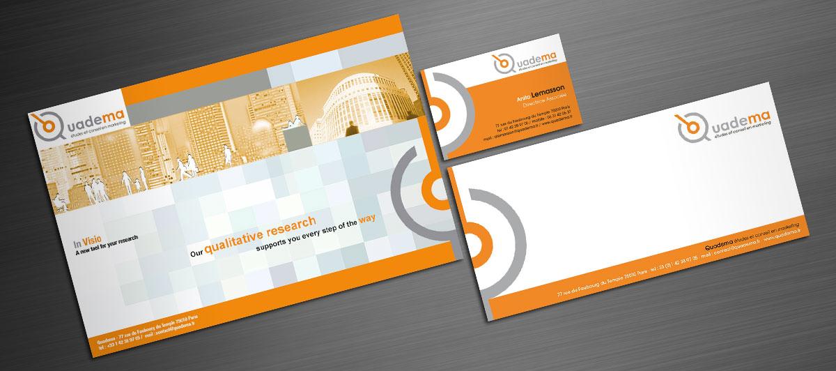 Infographiste indépendant, création de charte graphique, brochure, carte de correspondance et carte de visite étude