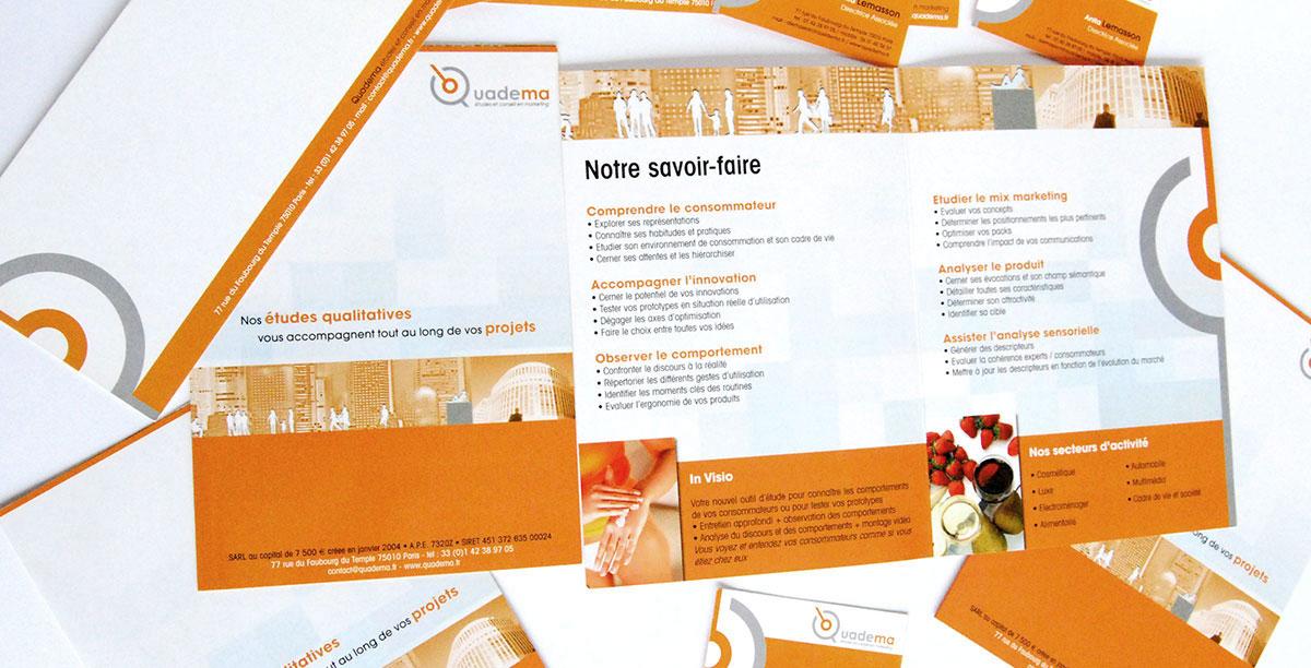 Infographiste indépendant, création de charte graphique, plaquette commerciale dépliant 2 volets études qualitatives