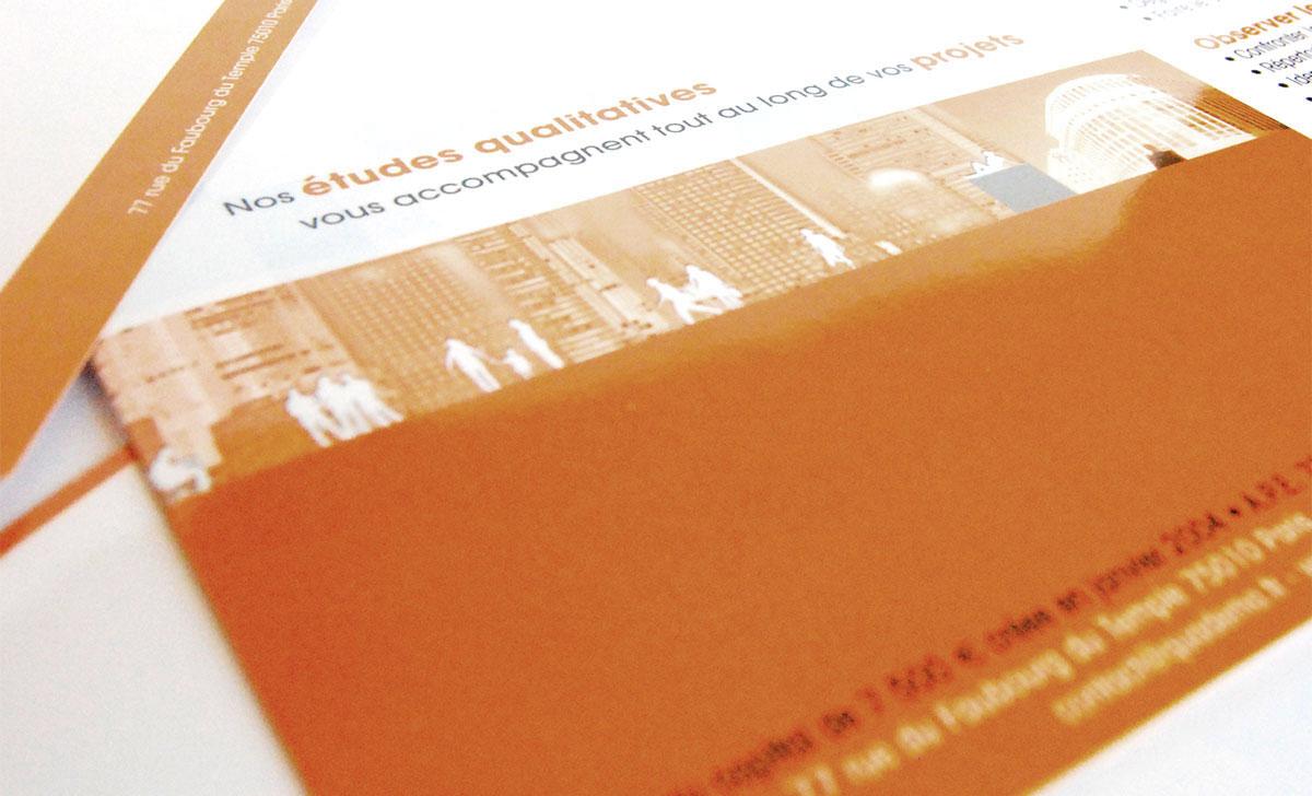 Infographiste indépendant, création de charte graphique, plaquette commerciale dépliant 2 volets analyses maketing de produit
