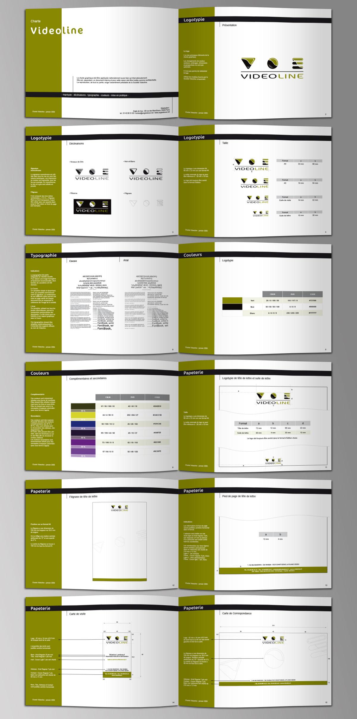 Infographiste indépendant, création de charte graphique pour entreprise d'installation de matériel vidéo, extrait de la charte