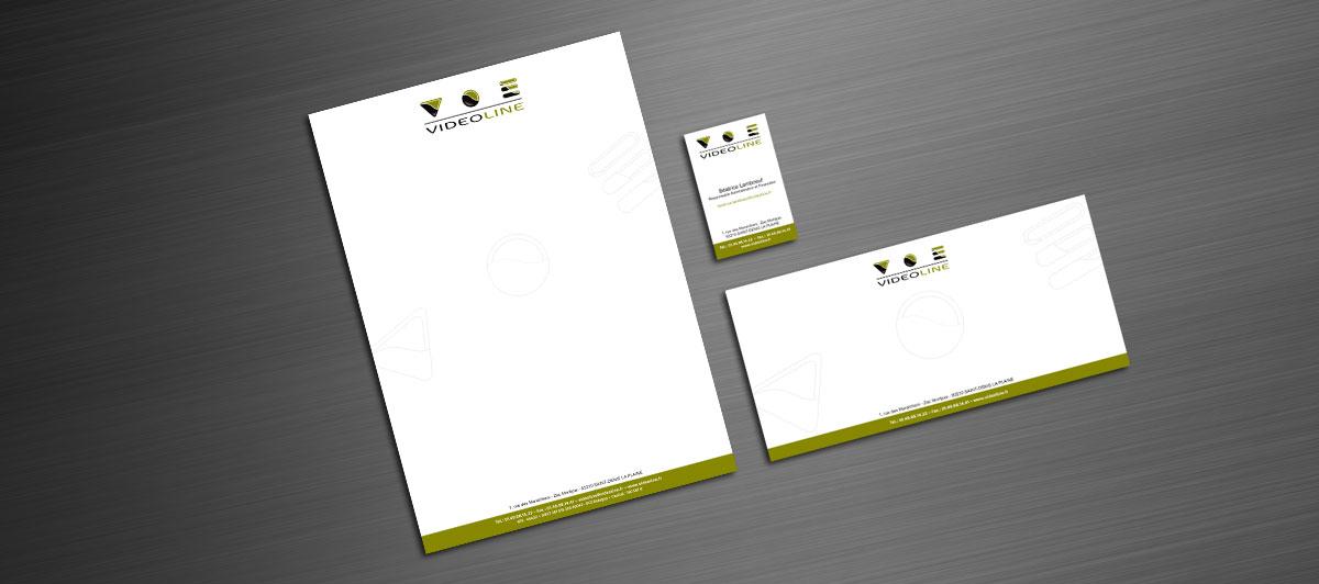 Infographiste indépendant, création de charte graphique pour entreprise d'installation de matériel vidéo, tête de lettre, carte de visite et carte de correspondance