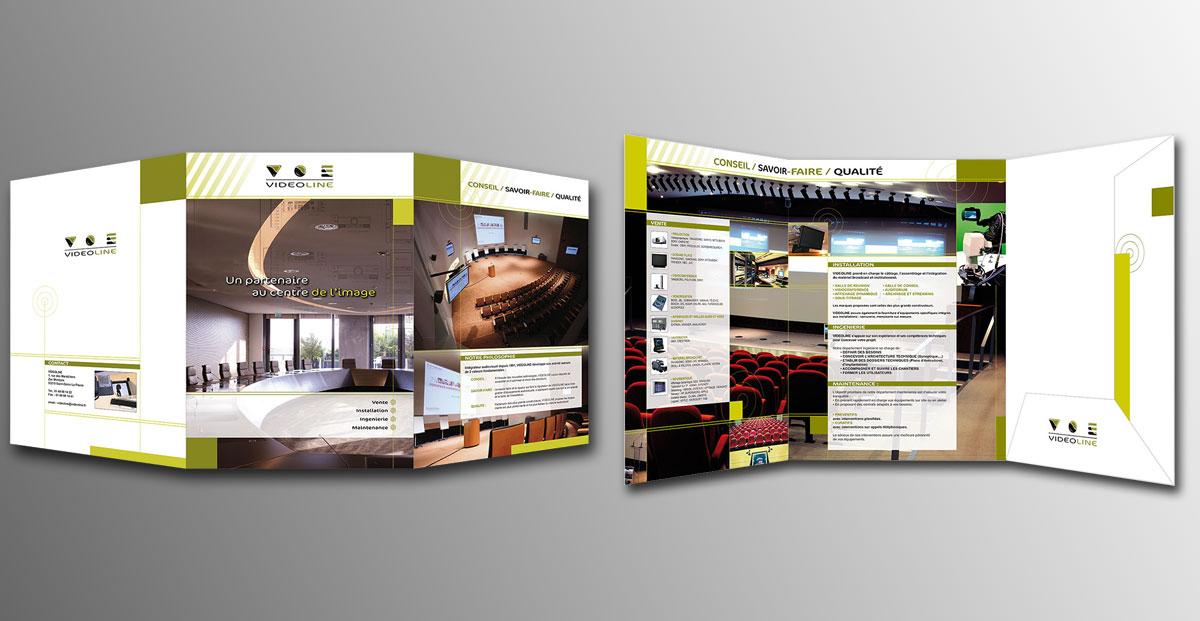 Infographiste indépendant, création de charte graphique pour entreprise d'installation de matériel vidéo, plaquette dépliant 3 volets multimédia