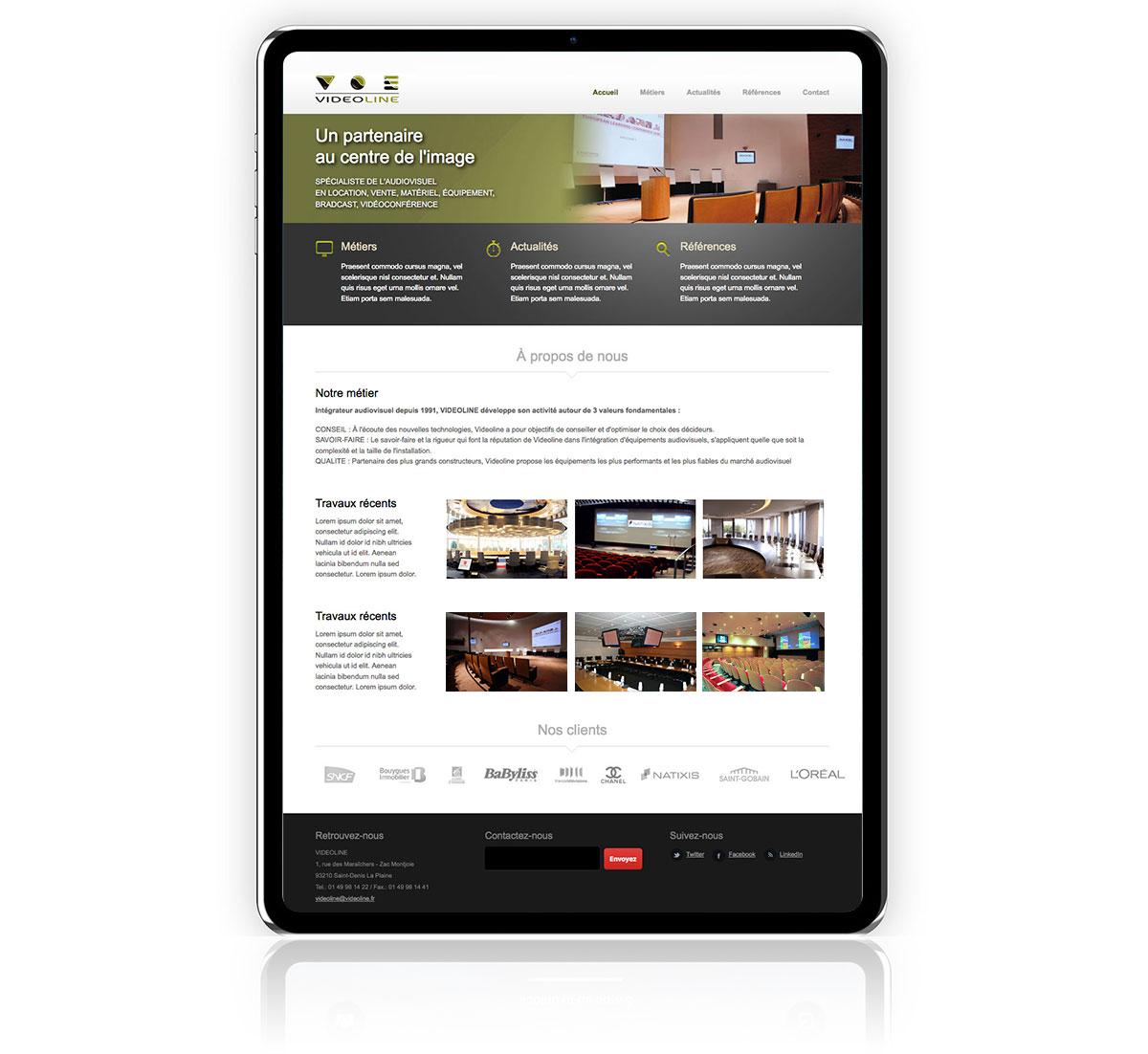 Infographiste indépendant, création de charte graphique pour entreprise d'installation de matériel vidéo, site internet