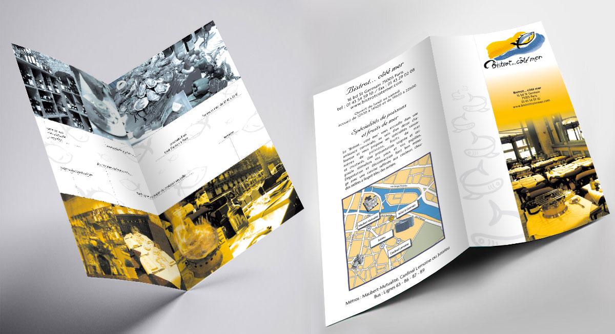 Infographiste indépendant, création de charte graphique pour restaurant, plaquette d'information