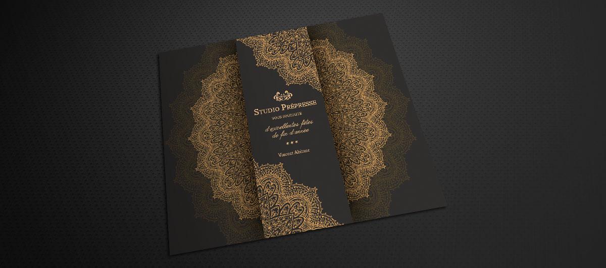 Infographiste indépendant, création et mise en page de carte de vœux studio prepresse