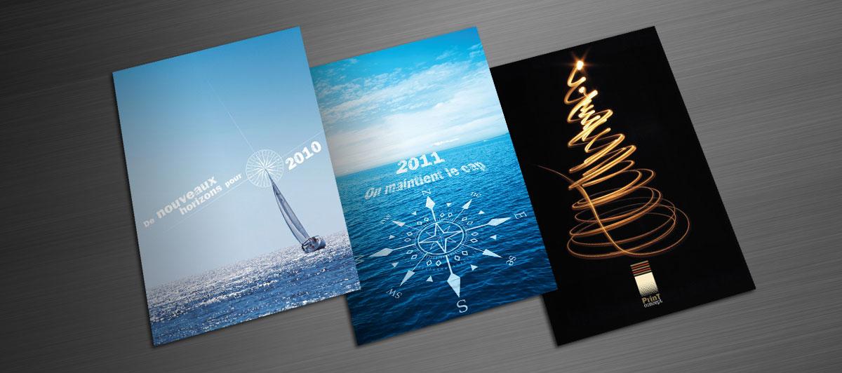 Infographiste indépendant, création et mise en page de carte de vœux imprimeur