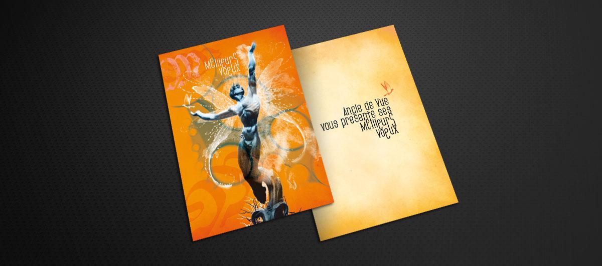 Infographiste indépendant, création et mise en page de carte de vœux originale pour agence de création