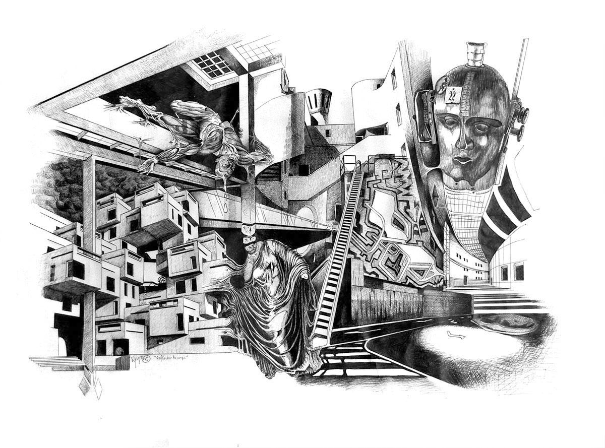 Infographiste indépendant, création d'illustrations, dessin architecture biologique 1
