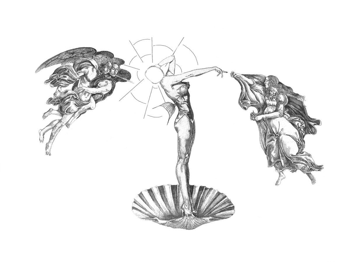 Infographiste indépendant, création d'illustrations, dessin déclinaison à partir de 'La naissance de Vénus' et du 'Printemps' de Botticelli