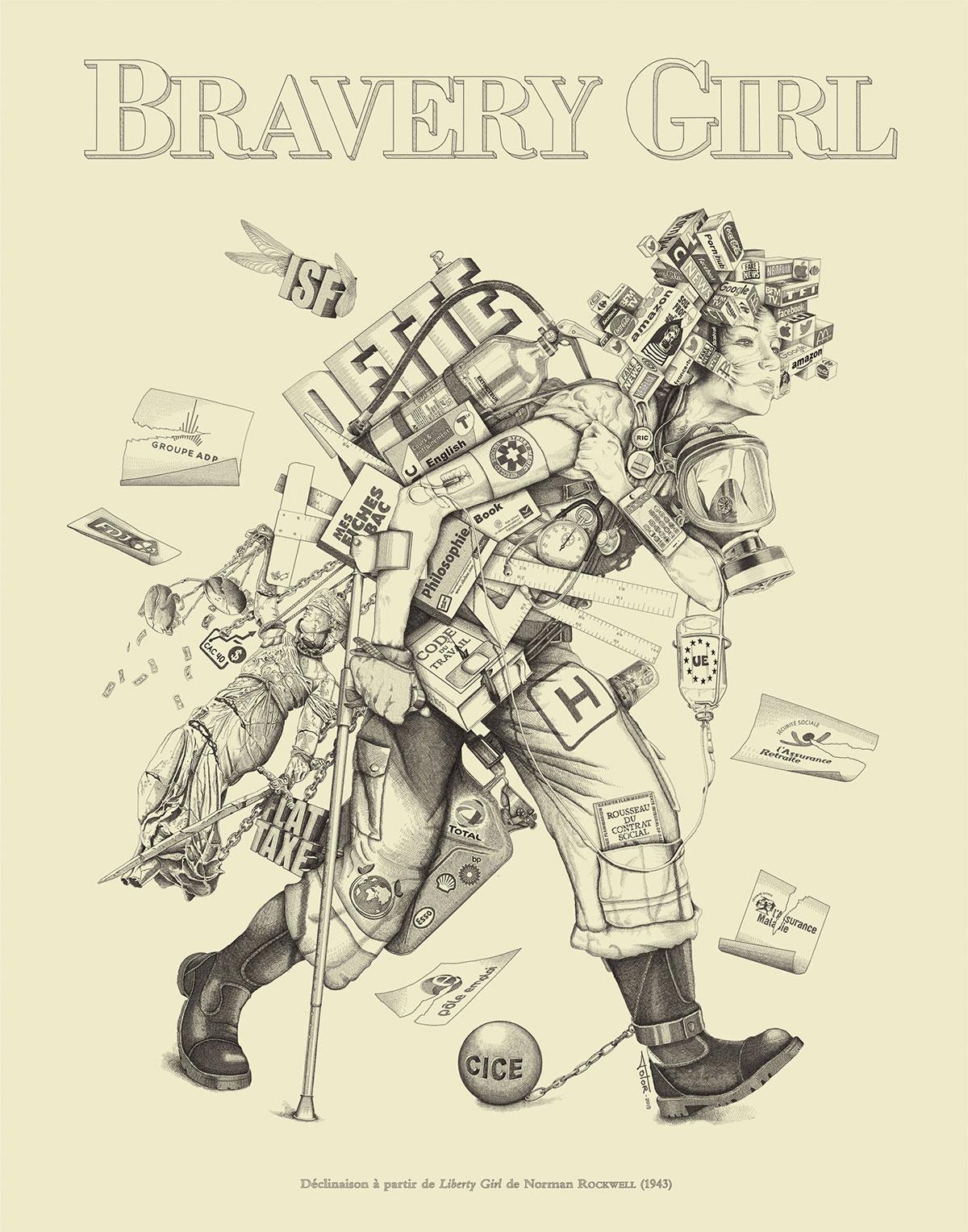 Infographiste indépendant, création d'illustrations, dessin social Bravery Girl
