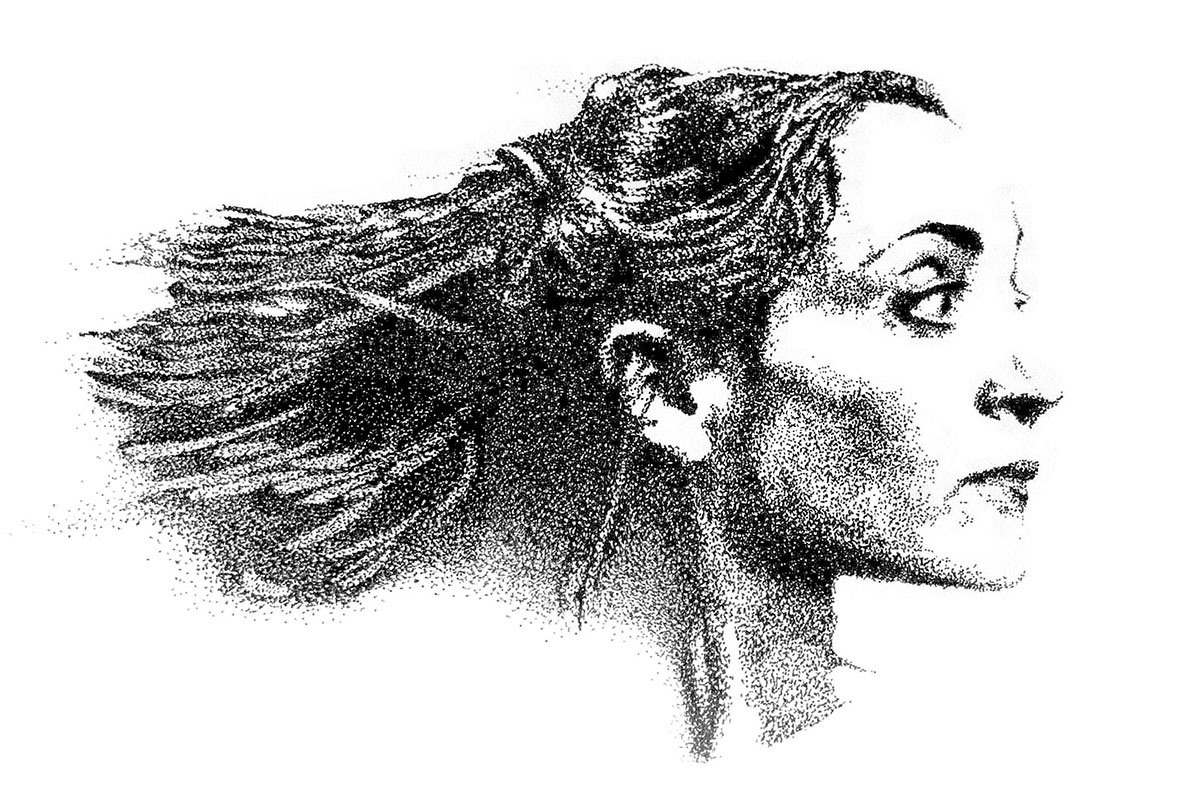 Infographiste indépendant, création d'illustrations, dessin pointilliste de Dominique Blanc dans la pièce de théâtre 'Une maison de poupée' d'Enrik Ibsen à l'Odéon Théâtre de l'Europe en 1997
