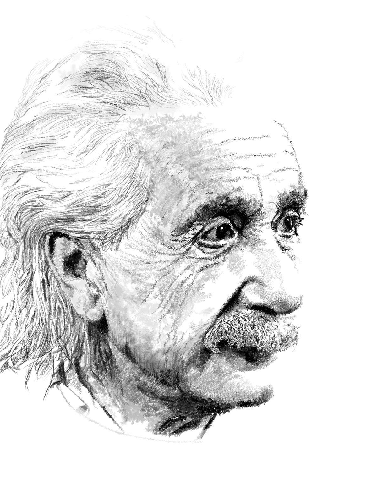 Infographiste indépendant, création d'illustrations, dessin d'Albert Einstein