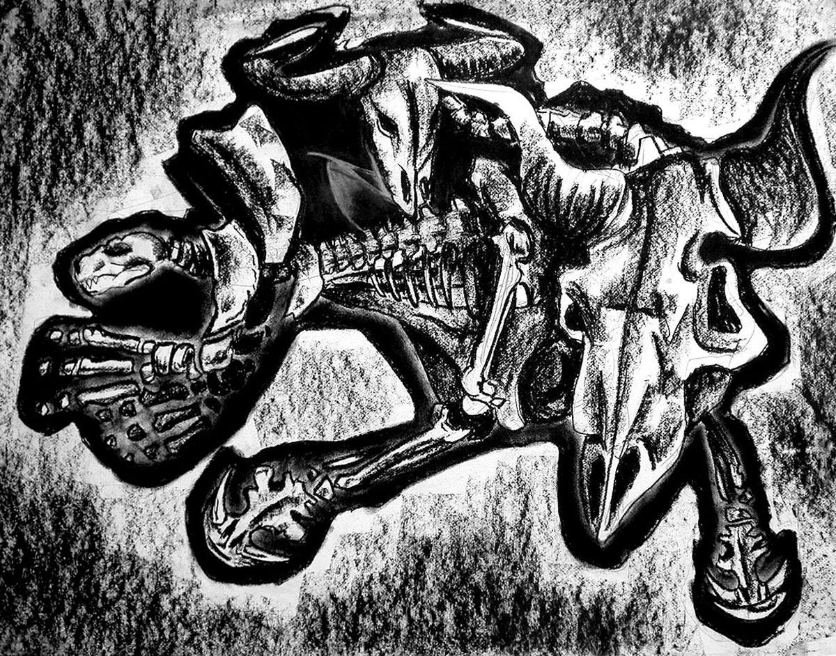 Infographiste indépendant, création d'illustrations, dessin monstre préhistorique
