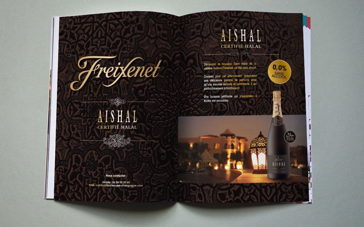 Infographiste indépendant, création et mise en page d'annonces presse pour champagne