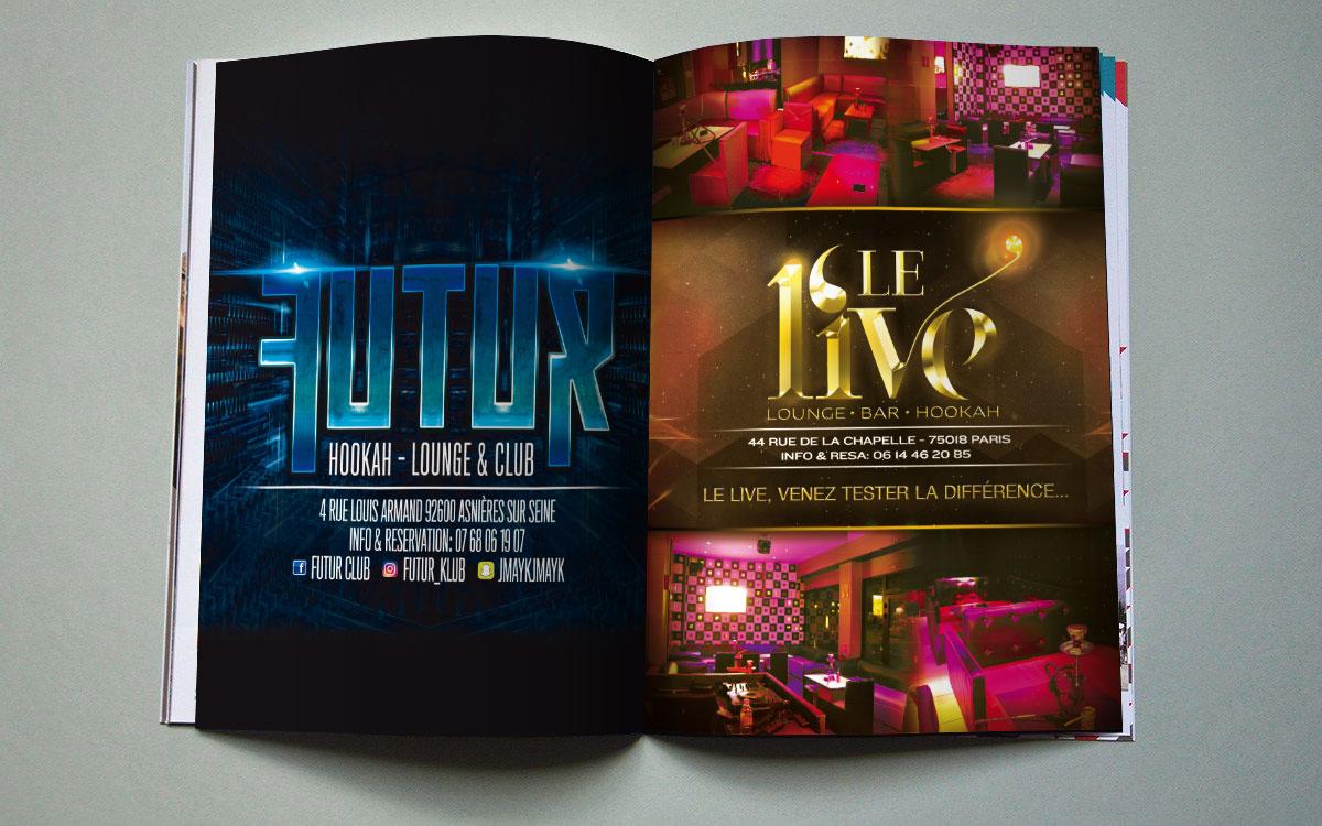 Infographiste indépendant, création et mise en page d'annonces presse pour club de nuit et lounge bar