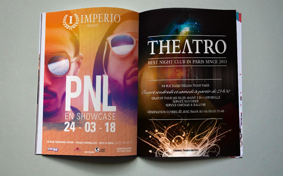 Infographiste indépendant, création et mise en page d'annonces presse pour concert et night club