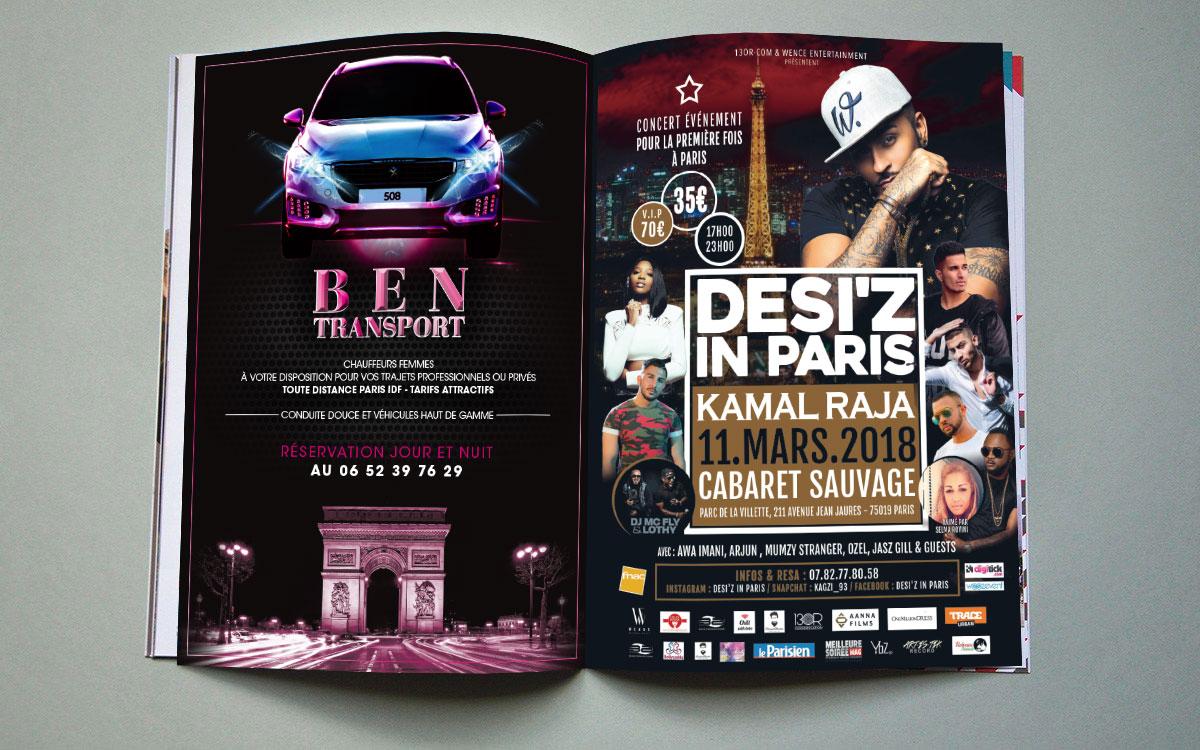 Infographiste indépendant, création et mise en page d'annonces presse pour festival et transport