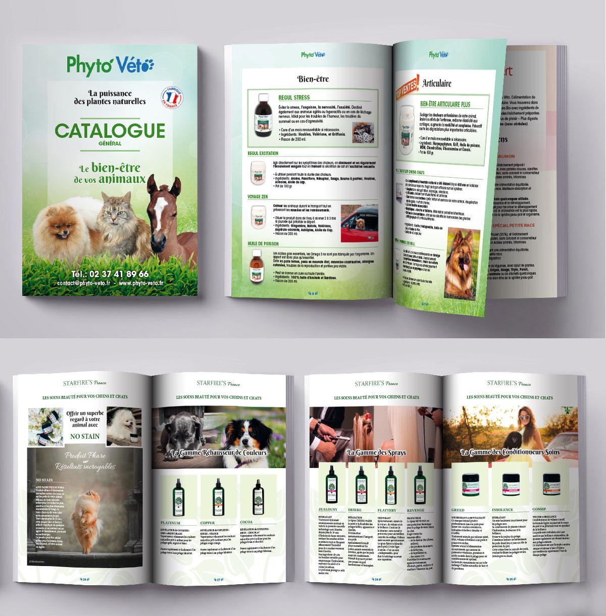 Infographiste indépendant, création et mise en page de catalogues de produits pour animaux