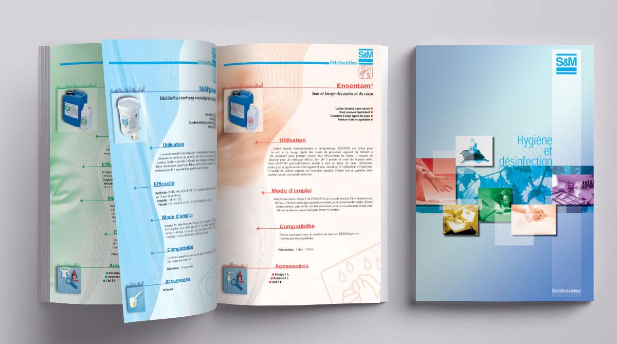 Infographiste indépendant, création et mise en page de catalogues de produits d'entretiens