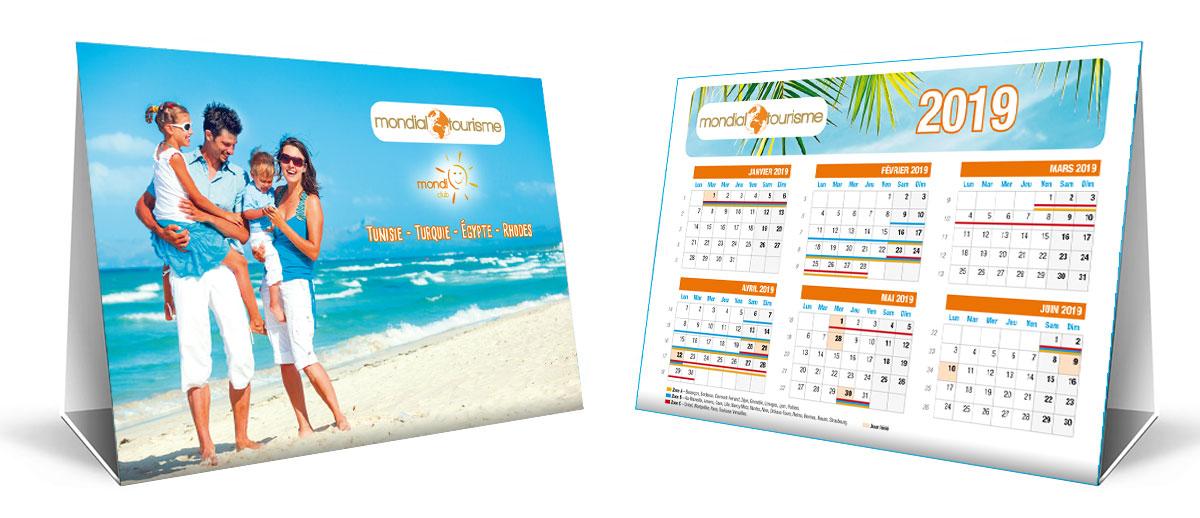 Infographiste indépendant, création et mise en page communication pour calendrier agence de voyages