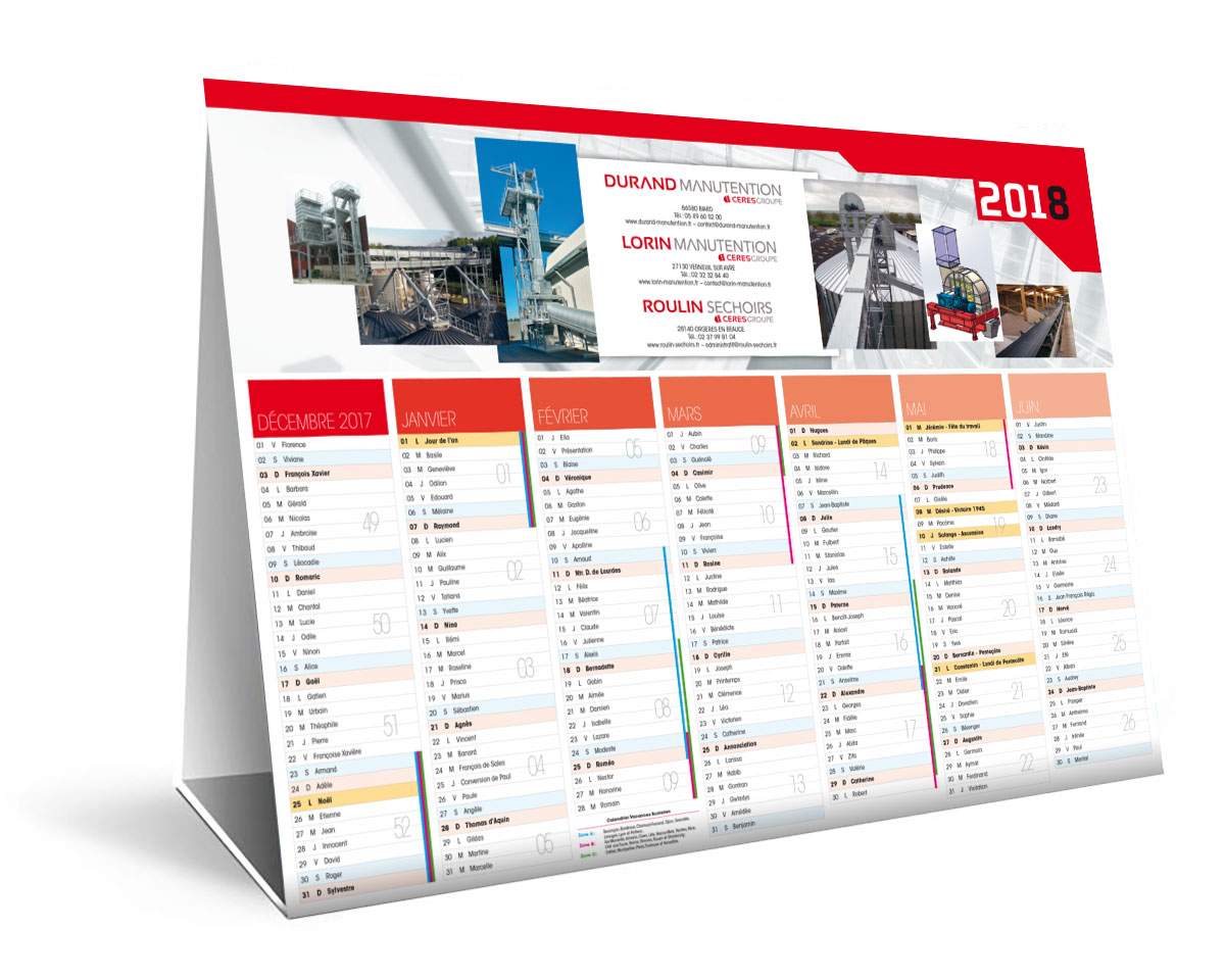 Infographiste indépendant, création et mise en page communication pour calendrier de bureau
