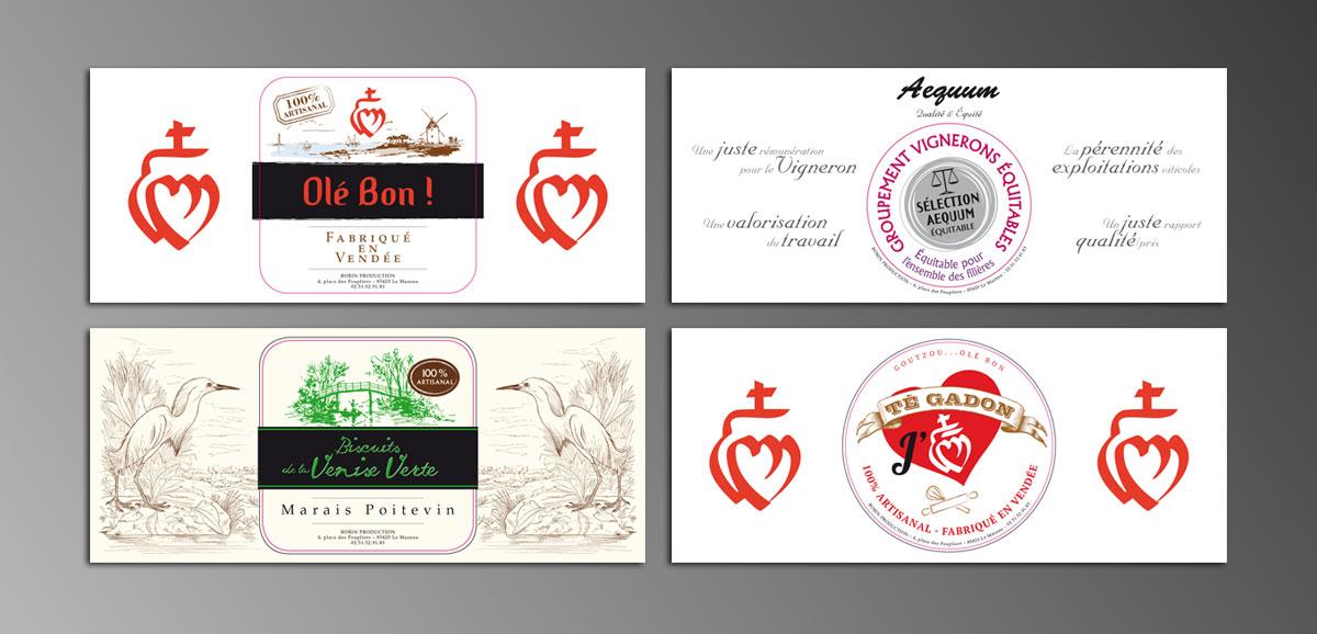 Infographiste indépendant, création et mise en page de communication, étiquettes biscuits artisanaaux