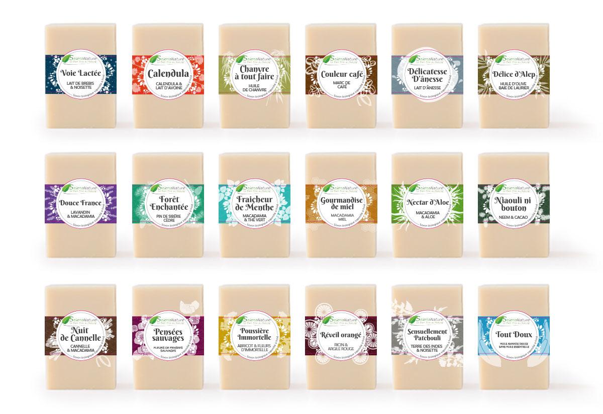 Infographiste indépendant, création et mise en page de communication, étiquettes de savon
