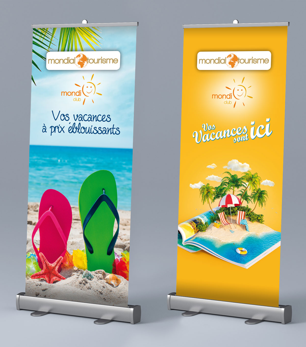 Infographiste indépendant, création et mise en page de supports de communication : Roll up, PLV, Kakemono agence de voyages