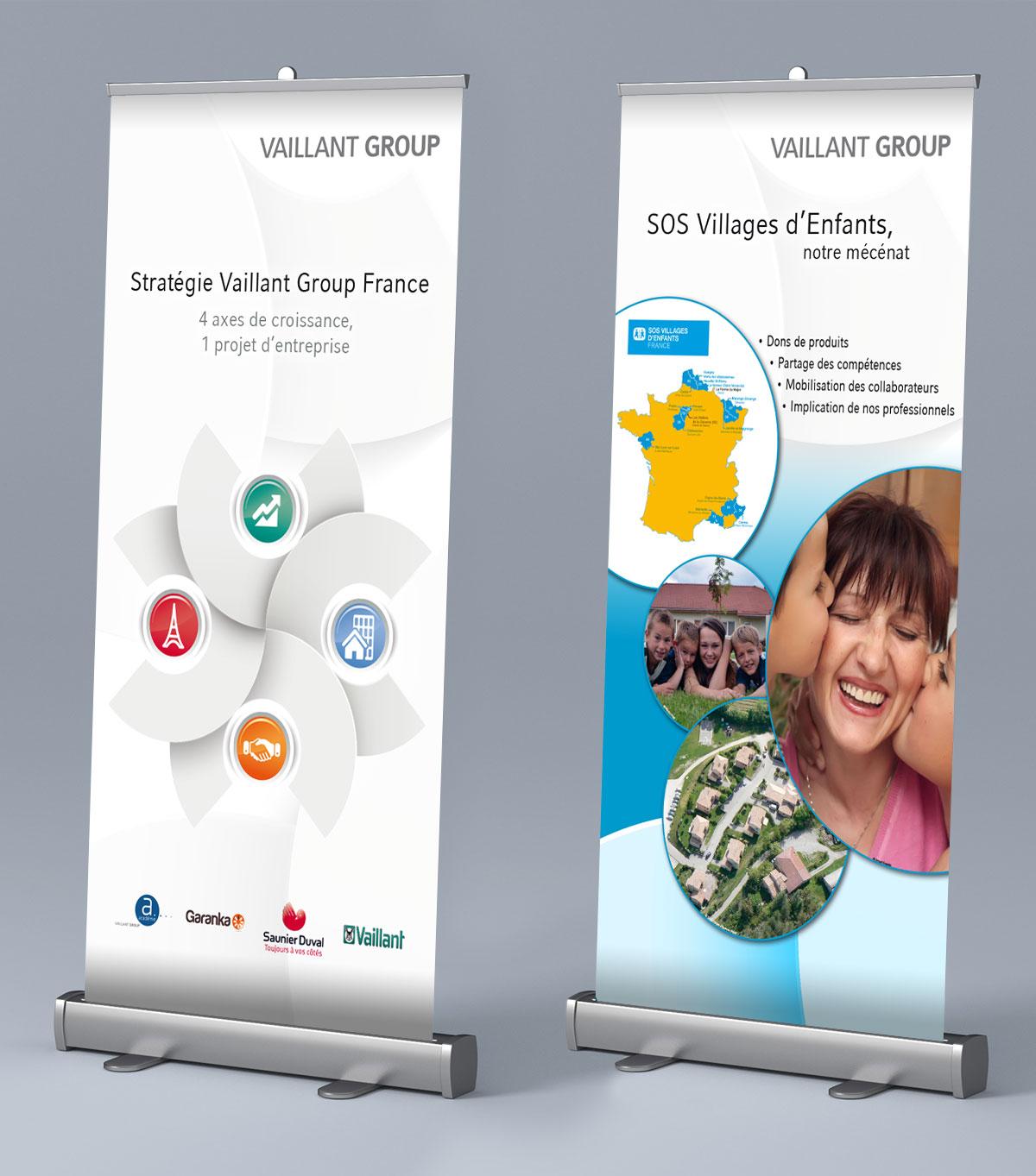 Infographiste indépendant, création et mise en page de supports de communication : Roll up, PLV, Kakemono seminaire d'entreprise