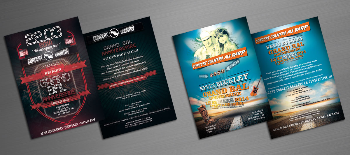 Infographiste indépendant, création et mise en page de flyers pour concert, bal, musique