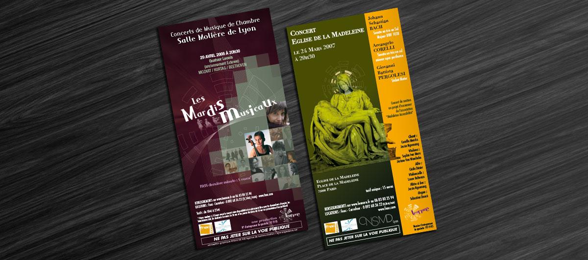 Infographiste indépendant, création et mise en page de flyers concert de musique classique
