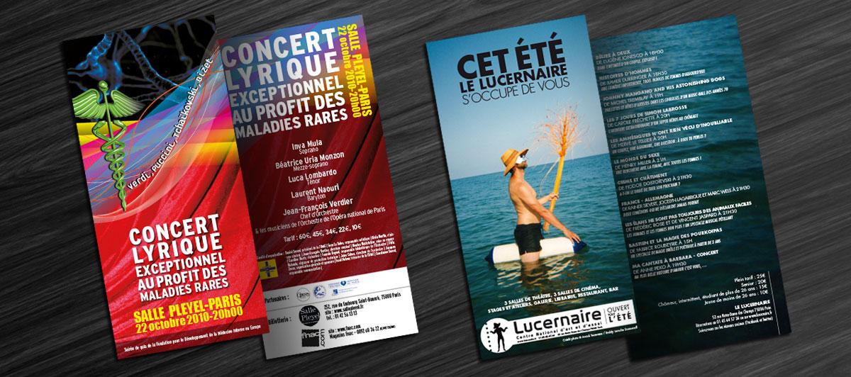 Infographiste indépendant, création et mise en page de flyers pour concert, spectacle, théâtre