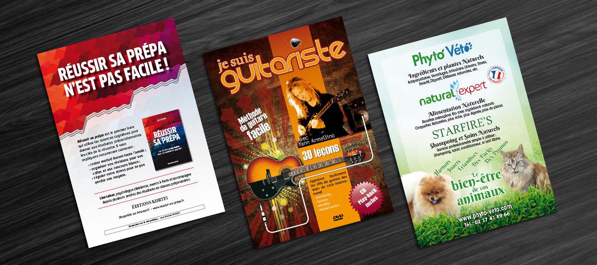 Infographiste indépendant, création et mise en page de flyers pour livre, musique et alimentation animale