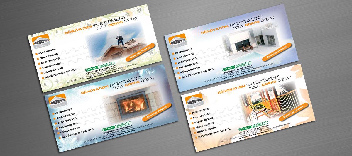 Infographiste indépendant, création et mise en page de flyers rénovation en bâtiment tout corps d'état