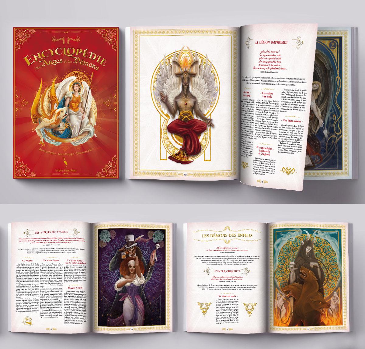 Infographiste indépendant, création et mise en page de livres encyclopédies jeunesse sur les Anges et les Démons