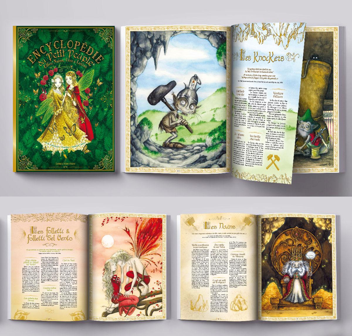 Infographiste indépendant, création et mise en page de livres encyclopédies jeunesse sur le monde des fées