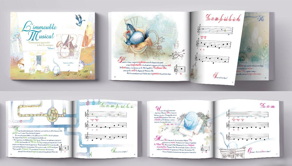 Infographiste indépendant, création et mise en page de livres jeunesse sur le solfège (clé de sol)