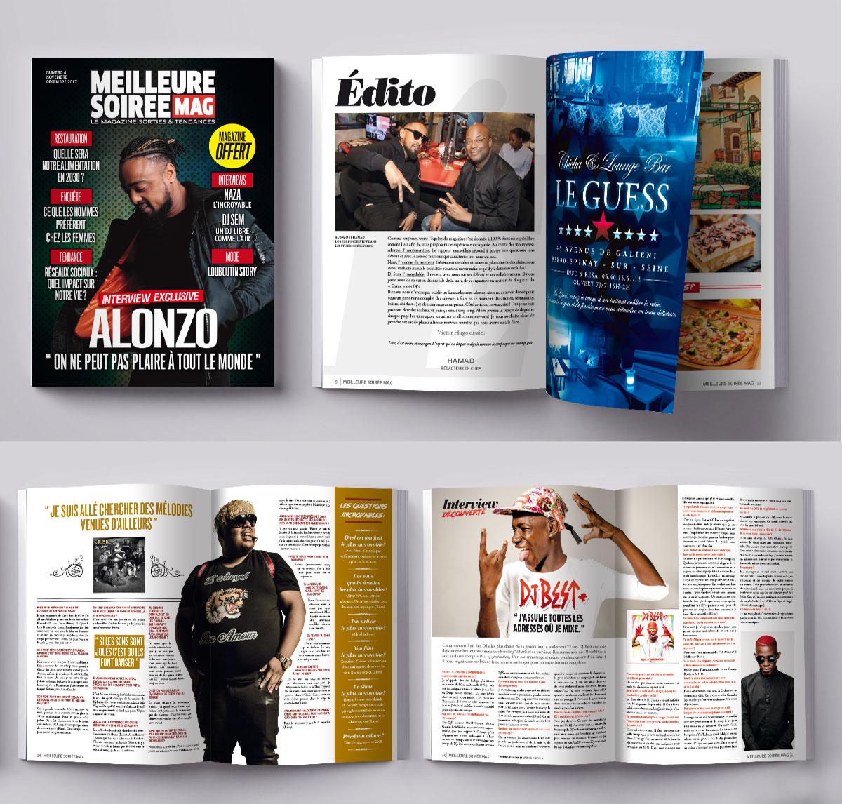 Infographiste indépendant, création et  mise en page de magazines sur les soirées parisiennes