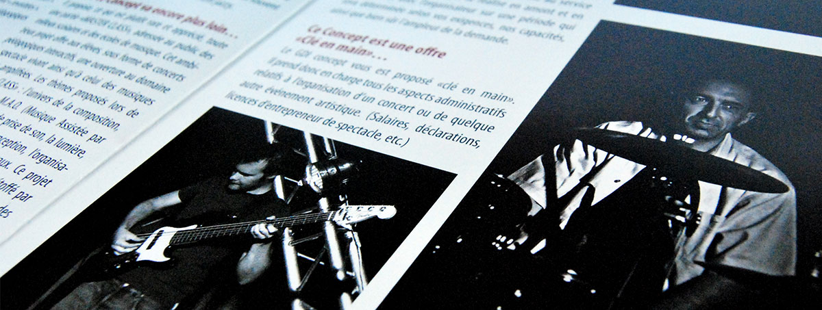 Infographiste indépendant, création et mise en page de plaquettes commerciales dépliant 2 volets concert Jazz
