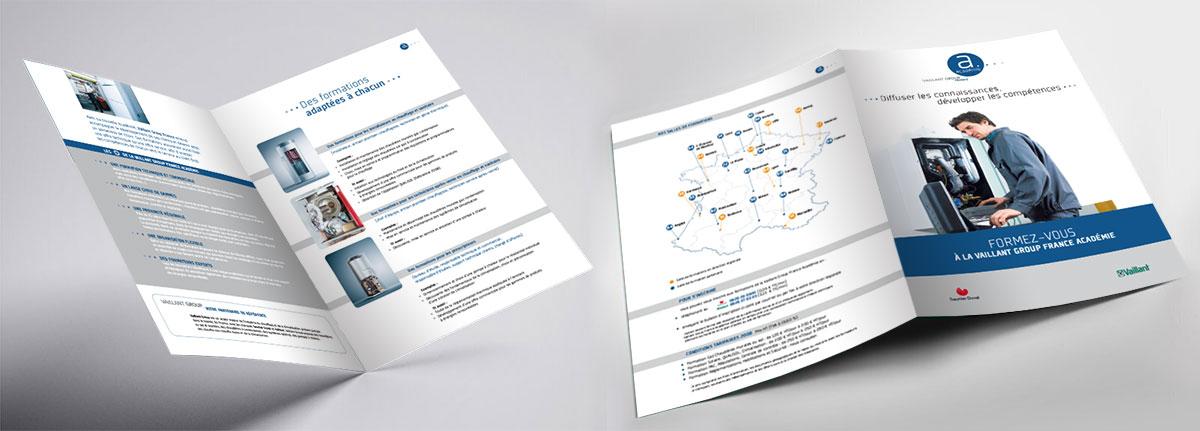 Infographiste indépendant, création et mise en page de plaquettes commerciales dépliant 2 volets Formation