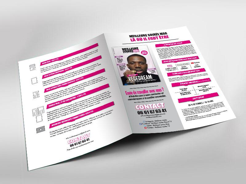 Infographiste indépendant, création et mise en page de plaquettes commerciales dépliant 2 volets magazine