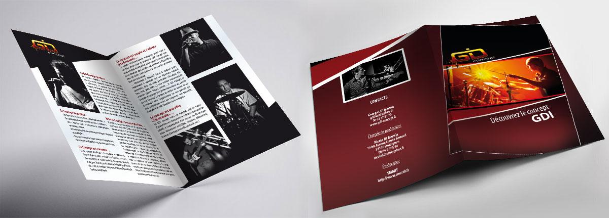 Infographiste indépendant, création et mise en page de plaquettes commerciales dépliant 2 volets musique