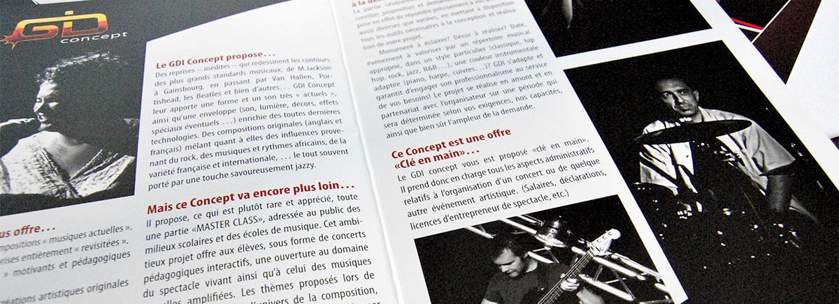 Infographiste indépendant, création et mise en page de plaquettes commerciales dépliant 2 volets musique Jazz