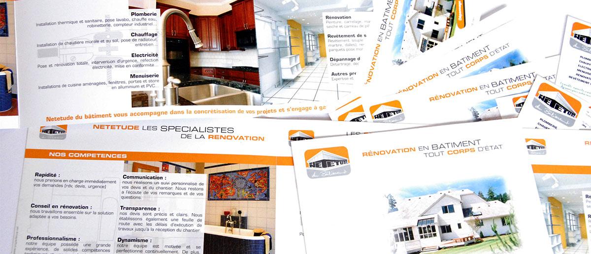 Infographiste indépendant, création et mise en page de plaquettes commerciales dépliant 2 volets travaux