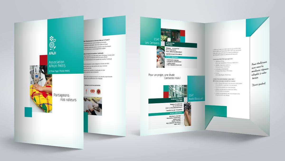 Infographiste indépendant, création et mise en page de plaquettes commerciales dépliant 2 volets association